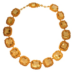 Antique necklace gold cannetille filigree work with 15 big citrine stones